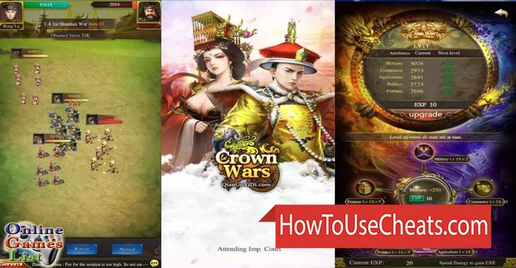 Crown Wars how to use Cheat Codes and Hack Silver and Gold