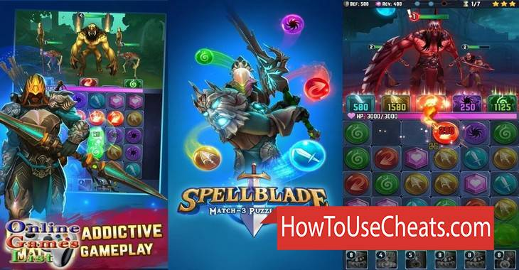 Spellblade: Match-3 Puzzle RPG how to use Cheat Codes and Hack Coins and Gems