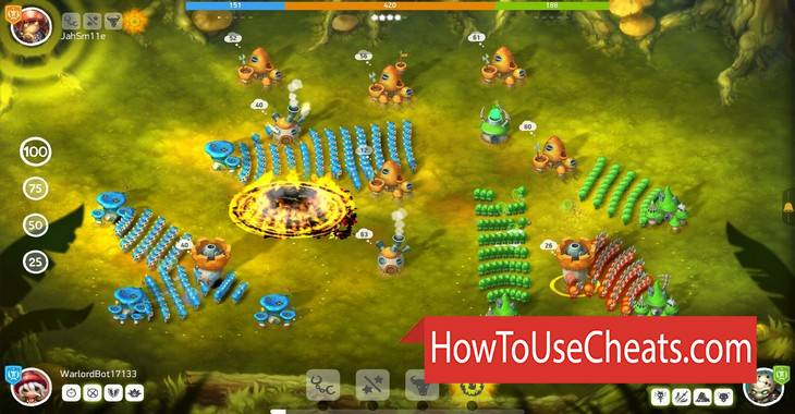 Mushroom Wars 2 how to use Cheat Codes and Hack Gold and Gems